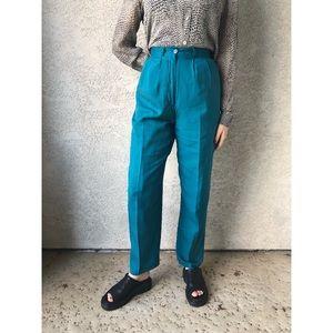 VINTAGE | High waisted 100% silk pants